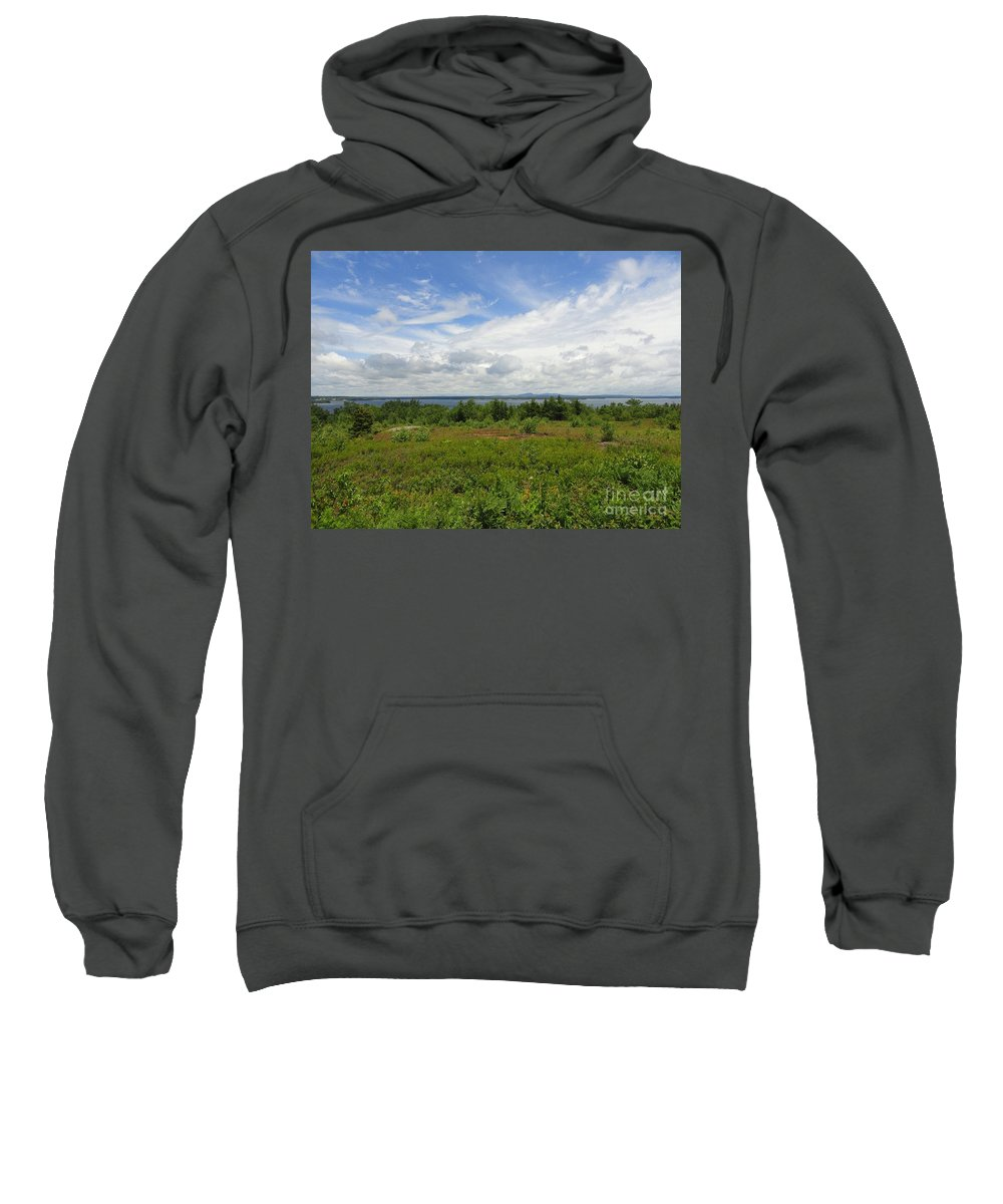 Blue Sky Sweatshirt featuring the photograph View Of Maine Bay by Meandering Photography