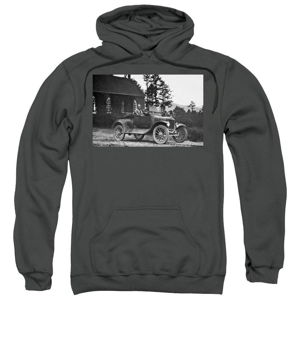 Men Sweatshirt featuring the photograph Vintage Photo Of Men In Truck by Susan Leggett