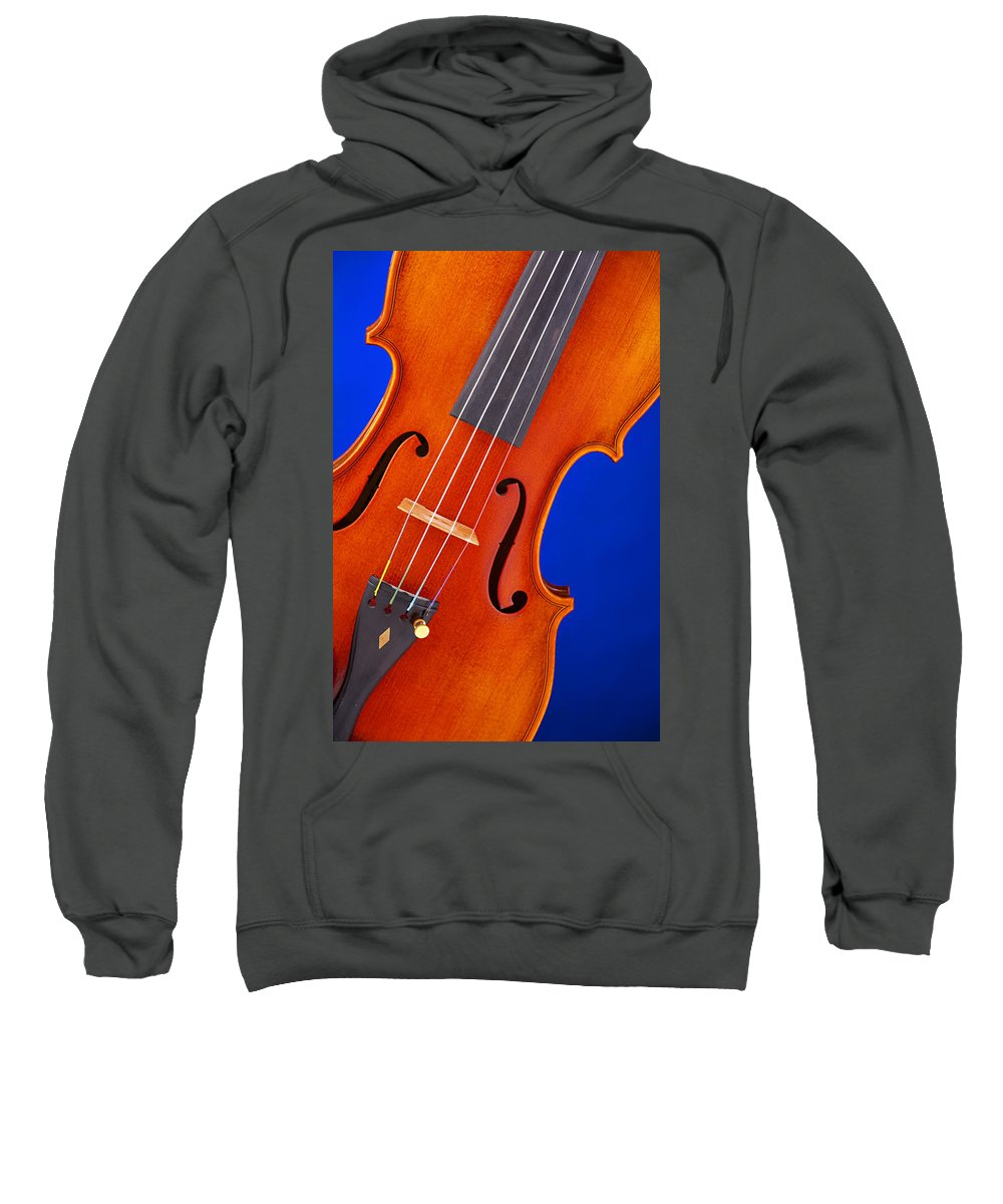 Violin Sweatshirt featuring the photograph Violin Isolated On Blue by M K Miller