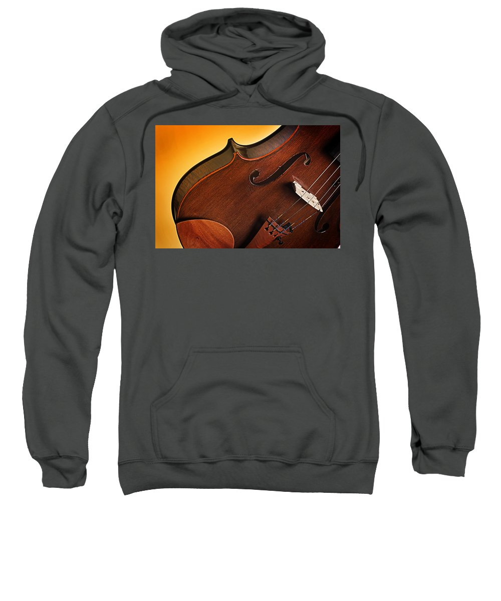 Violin Sweatshirt featuring the photograph Violin Isolated On Gold by M K Miller