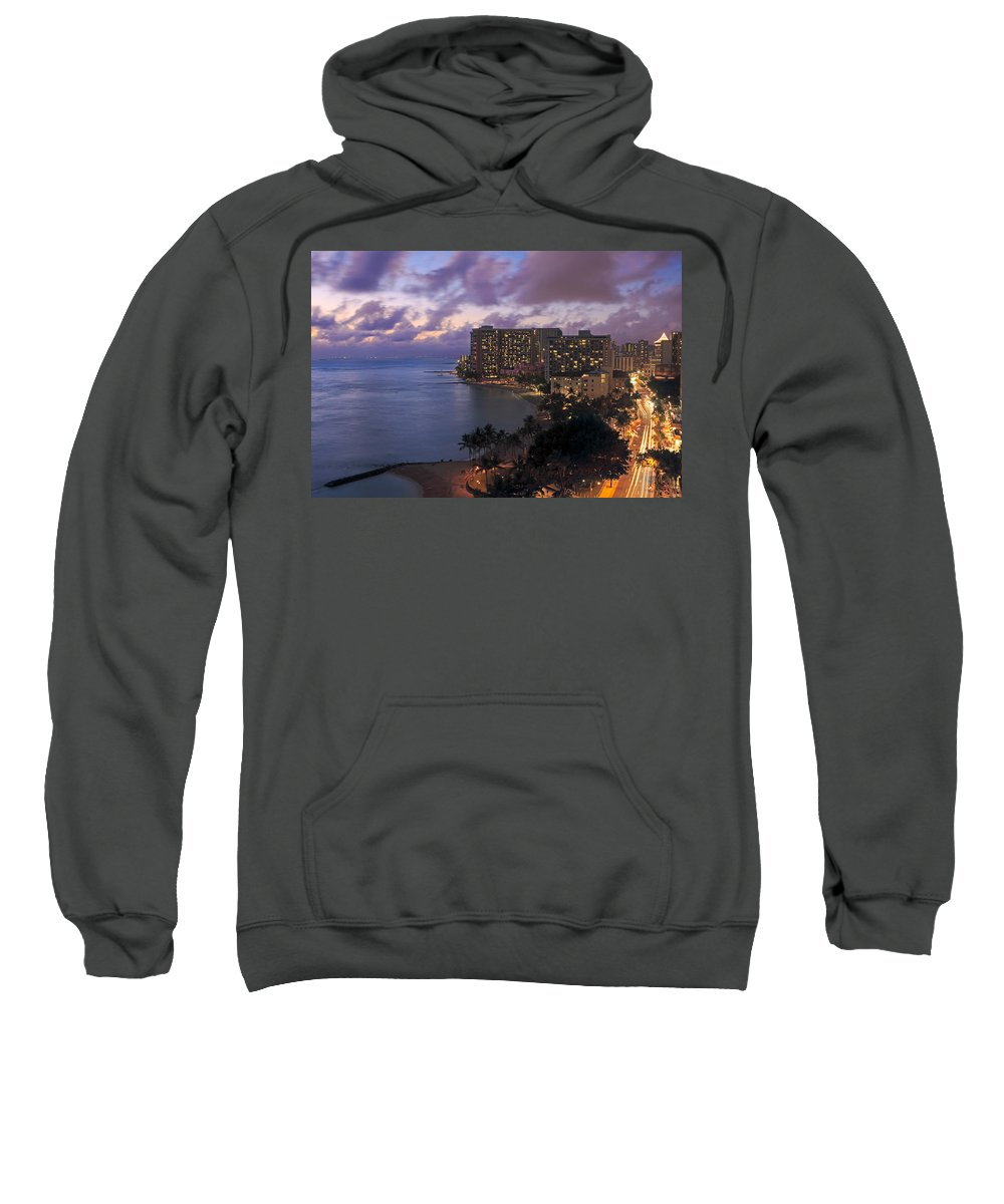 Architectural Art Sweatshirt featuring the photograph Waikiki At Night by Tomas del Amo