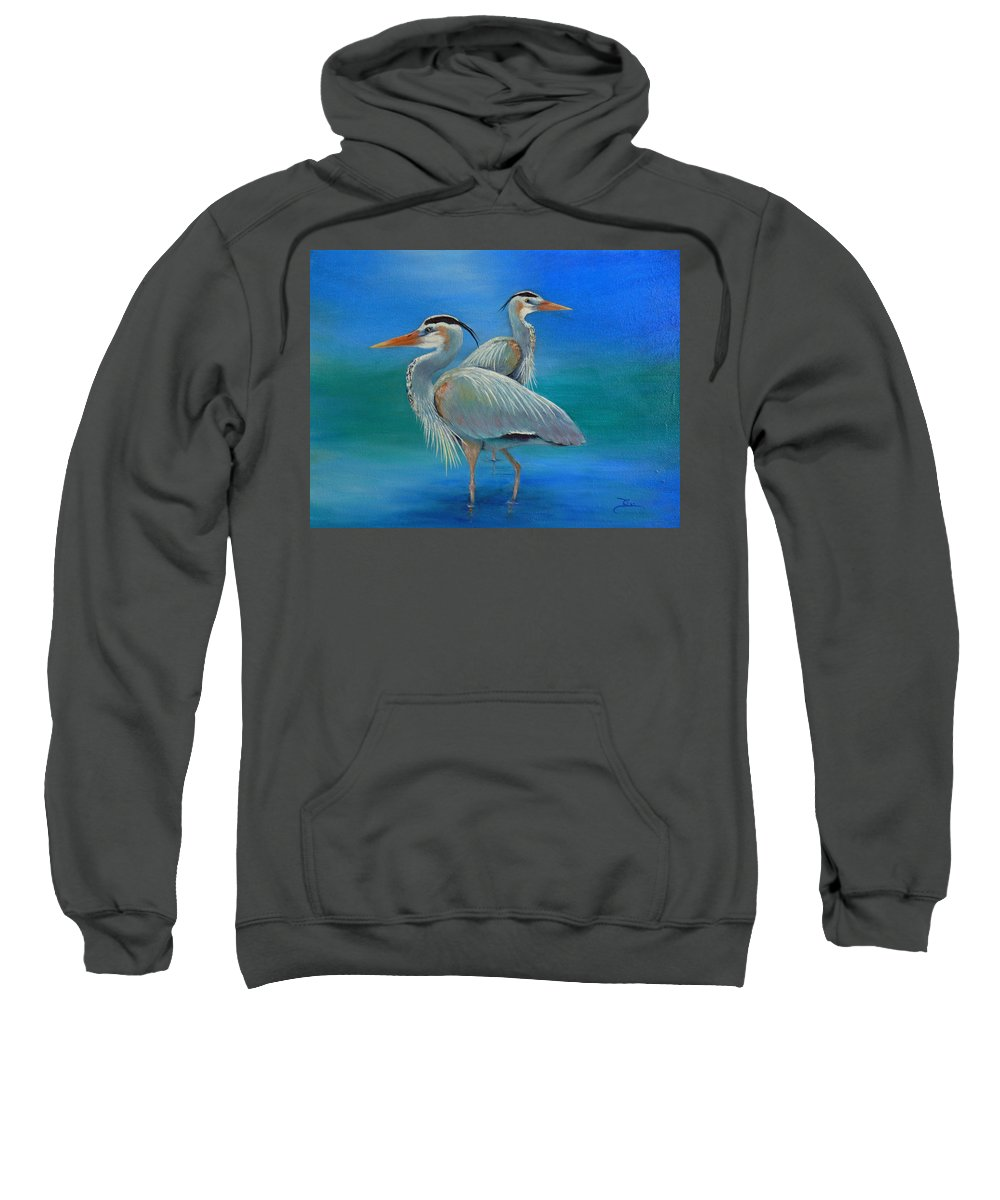 Great Blue Heron Sweatshirt featuring the painting Waiting For Fish by Dee Carpenter