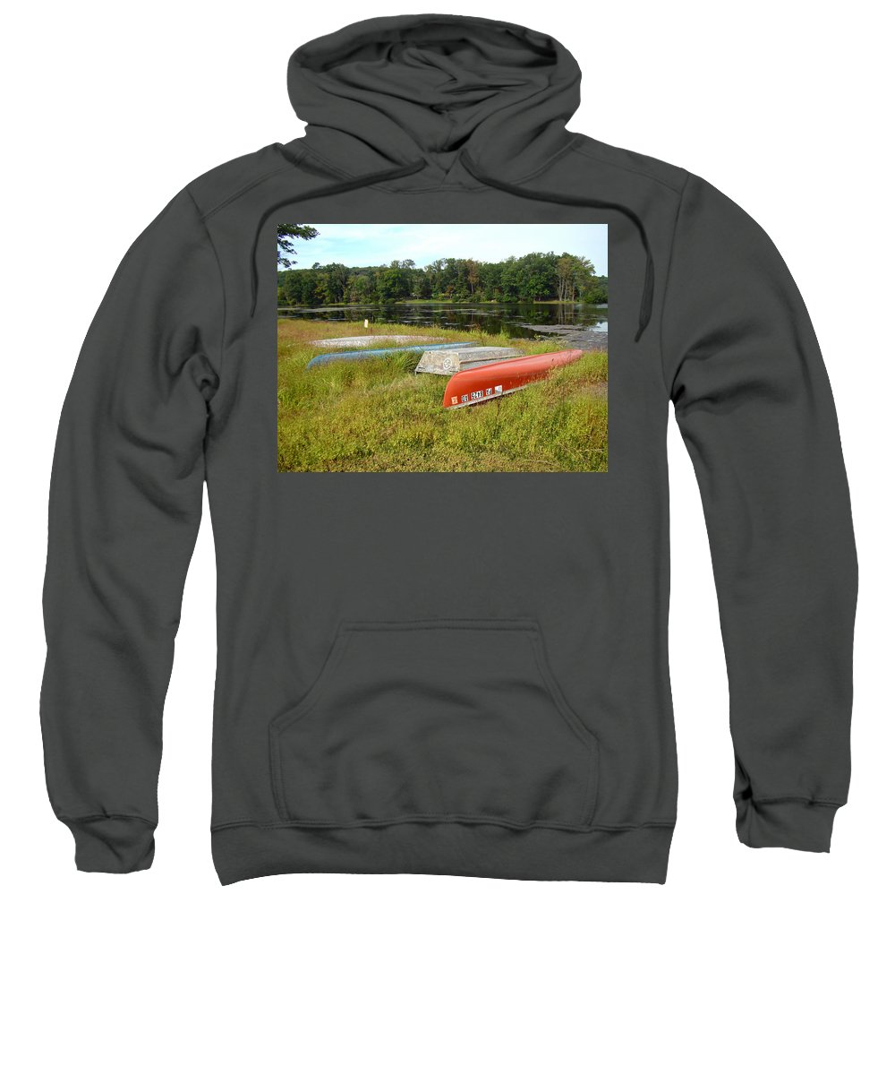 Boats Sweatshirt featuring the photograph Waiting For One Last Summer Voyage by Mother Nature