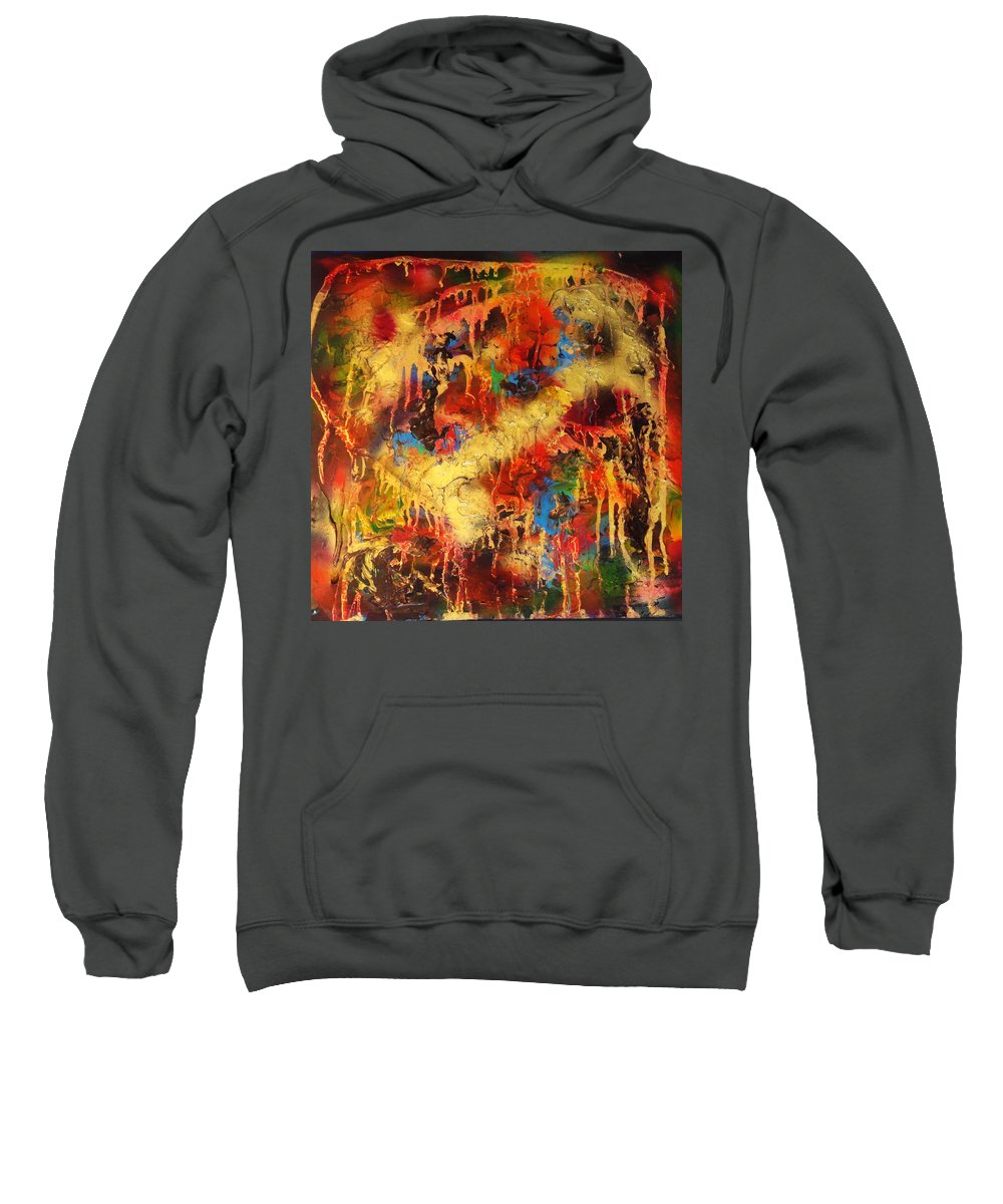Abstract Sweatshirt featuring the painting Walk Through The Fire by Yael VanGruber