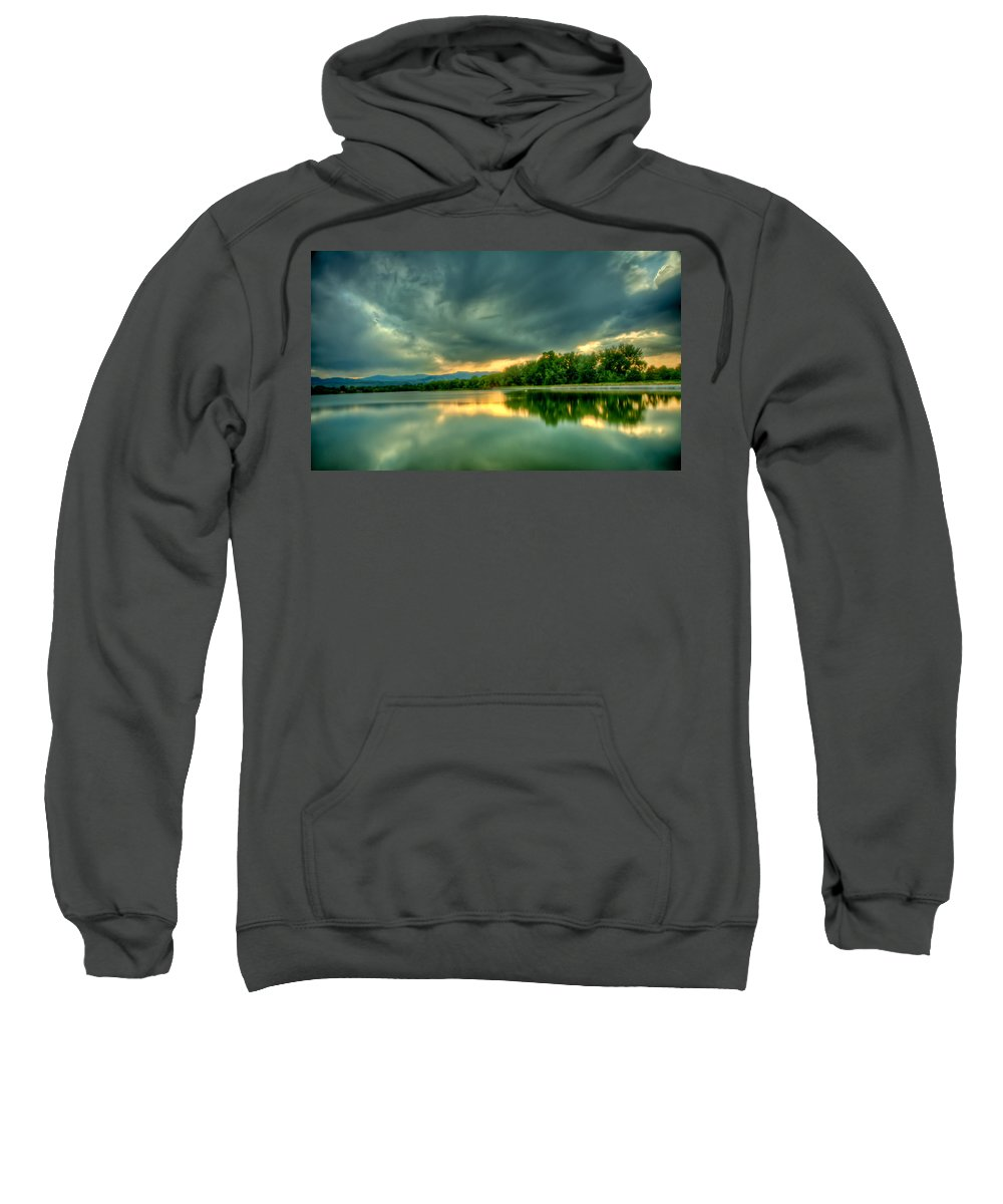 Lake Sweatshirt featuring the photograph Warren Lake At Sunset by Anthony Doudt