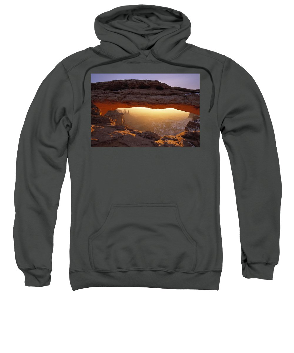 Arch Canyonlands Sweatshirt featuring the photograph Washer Woman Arch Seen Through Mesa by Natural Selection Robert Cable