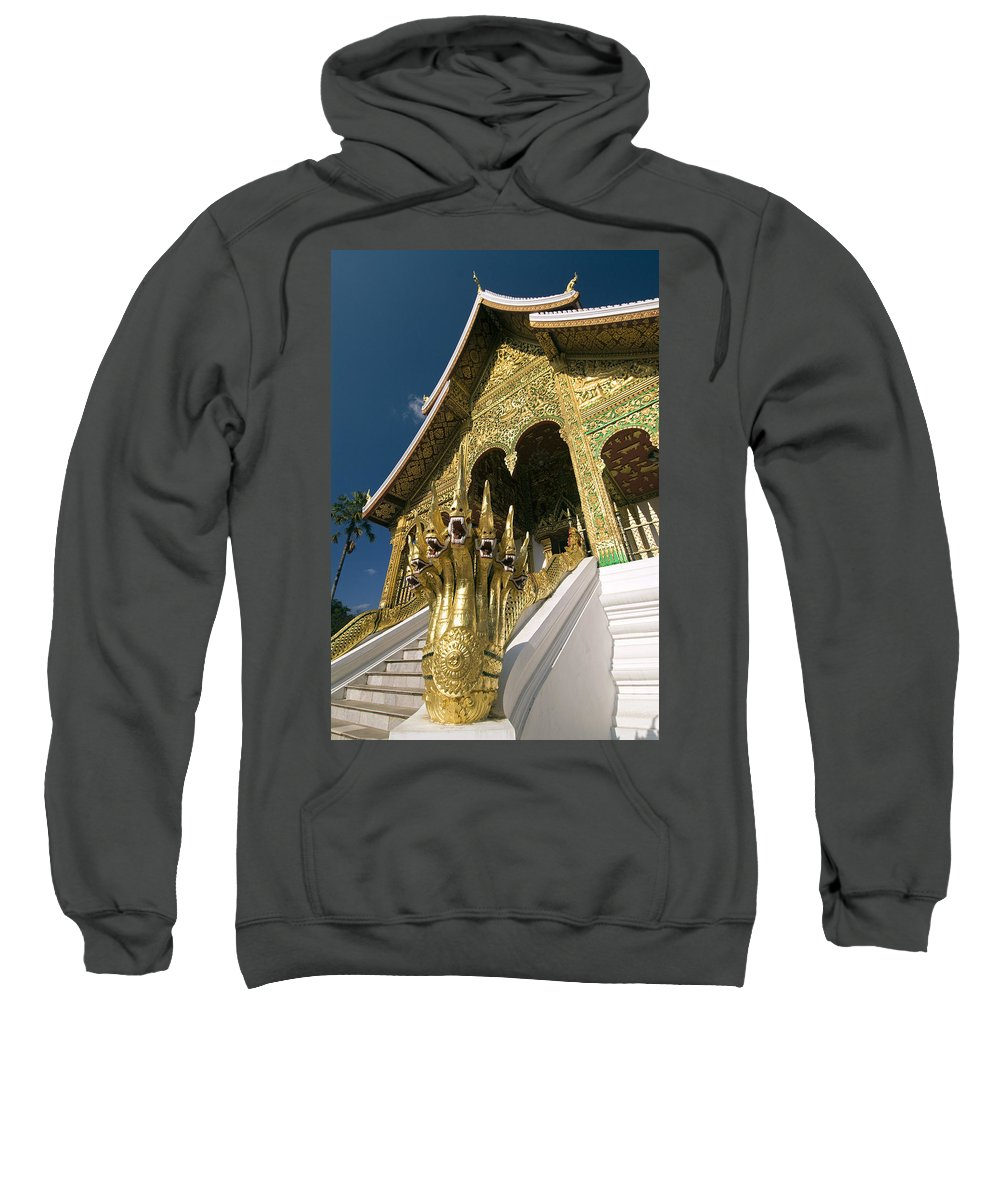 Angle Sweatshirt featuring the photograph Wat Sen Naga Heads by Gloria & Richard Maschmeyer