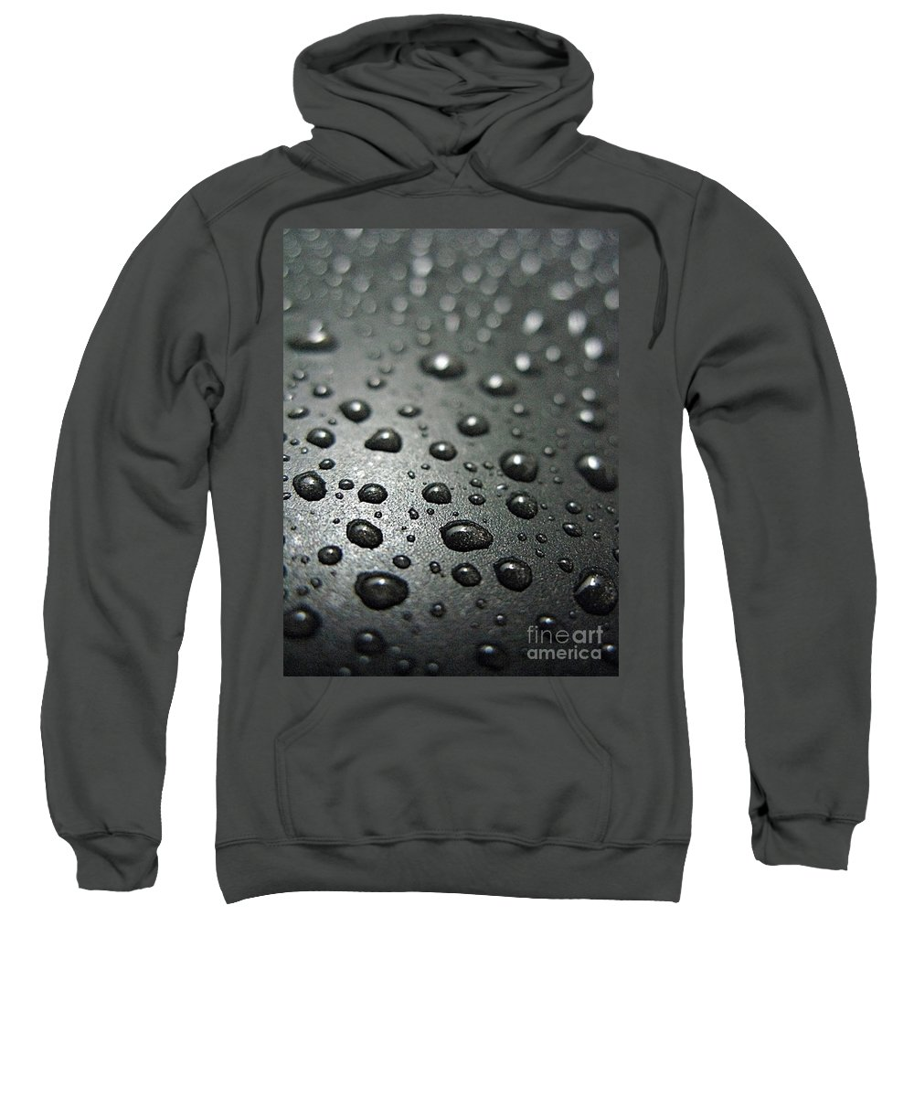 Bubble Sweatshirt featuring the photograph Water Drops On Metal Pan by Ausra Huntington nee Paulauskaite