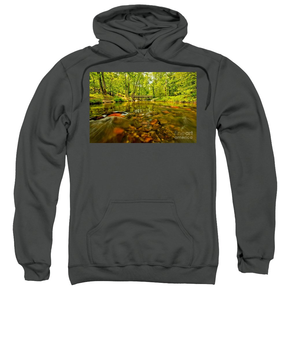 Stone Mountain State Park Sweatshirt featuring the photograph Water Under The Bridge by Adam Jewell