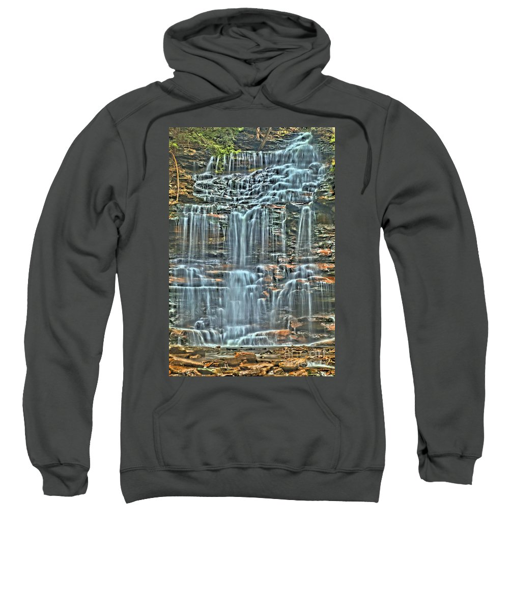 Waterfalls Sweatshirt featuring the photograph Waterfall Highights by Adam Jewell