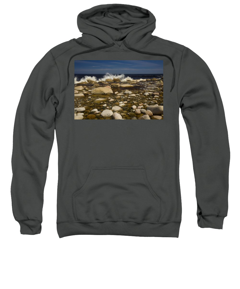 Color Image Sweatshirt featuring the photograph Waves Hitting Rocks, Anchor Brook by John Sylvester
