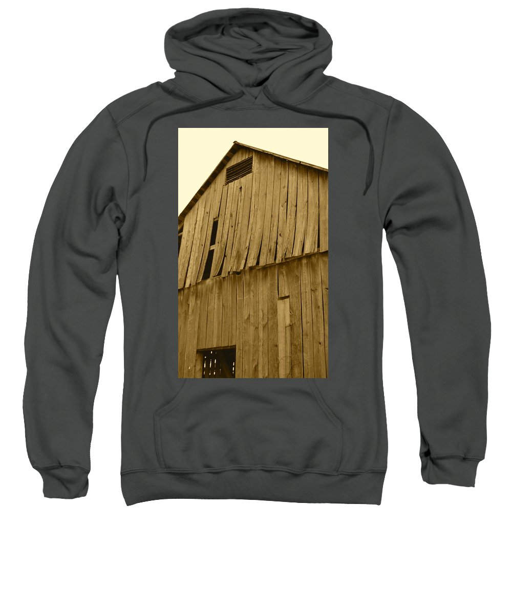 J.d. Grimes Sweatshirt featuring the photograph Weathered Barn I In Sepia by JD Grimes