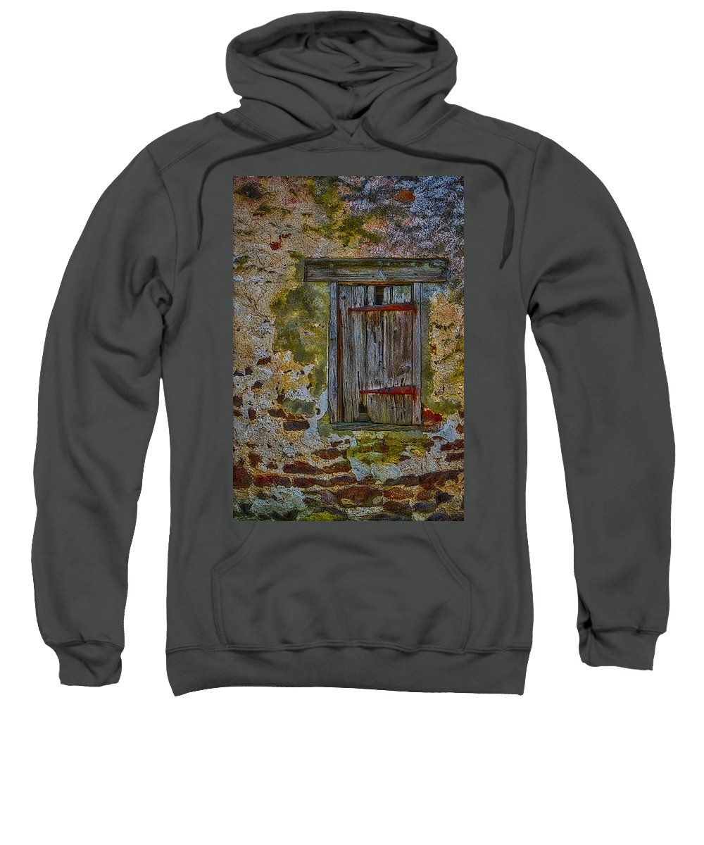 Window Sweatshirt featuring the photograph Weathered Vibrancy by Susan Candelario