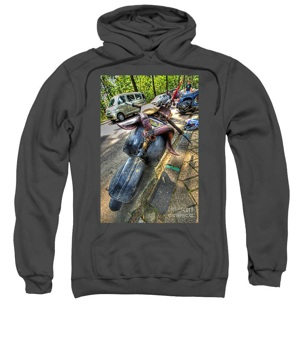 Scooter Sweatshirt featuring the photograph Weird Modification On A Scooter by Charuhas Images