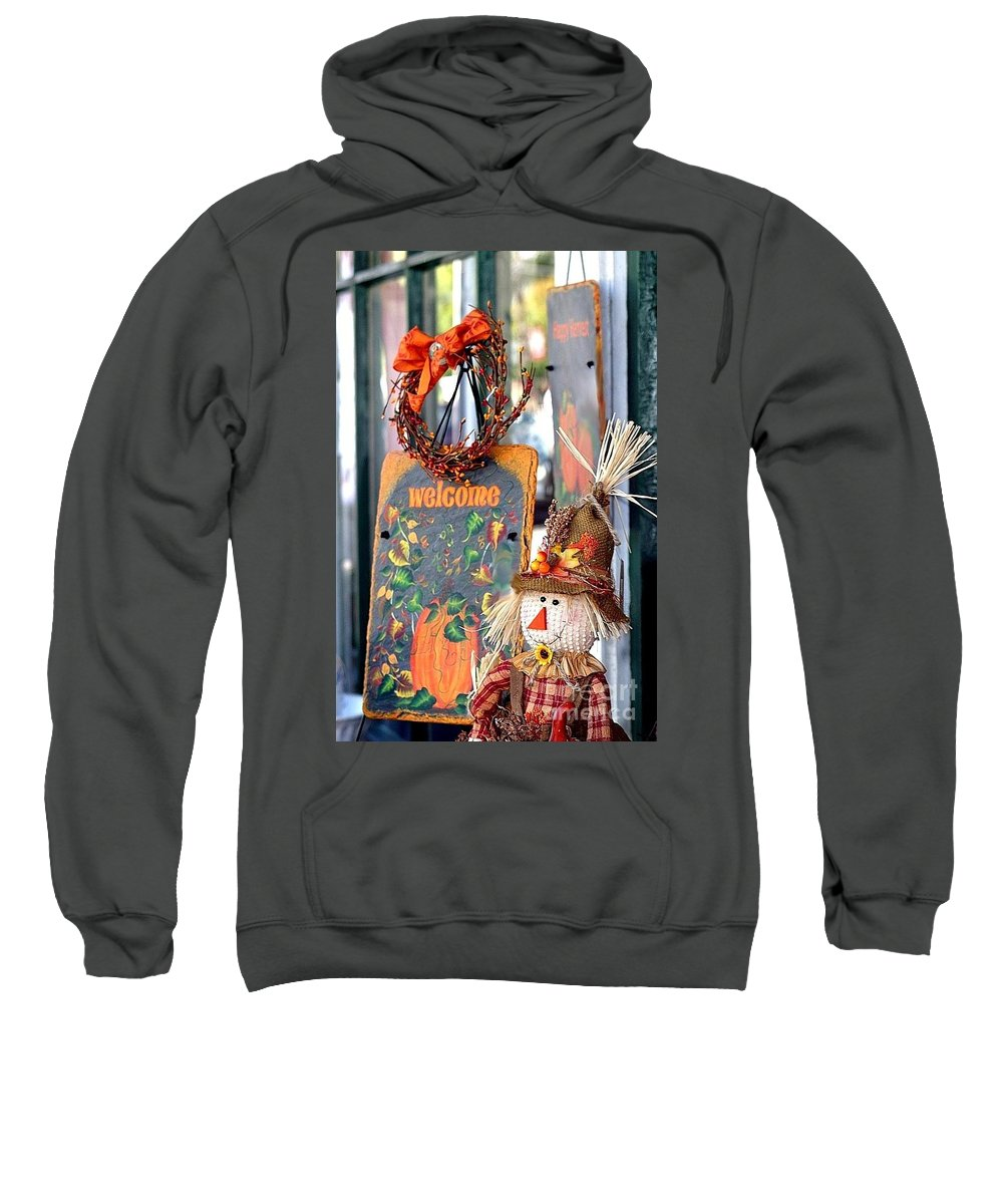 Welcome Sweatshirt featuring the photograph Welcome Fall by Living Color Photography Lorraine Lynch