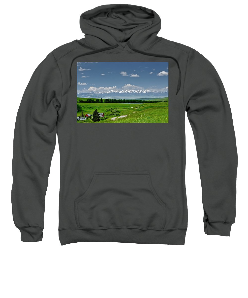 Americas Sweatshirt featuring the photograph Westerly View Of The Bridger Mountains by Roderick Bley