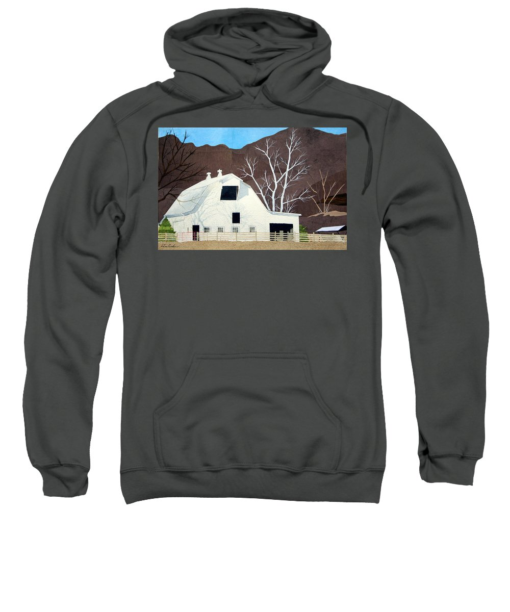 Stark Trees Sweatshirt featuring the painting White Barn by Jim Gerkin