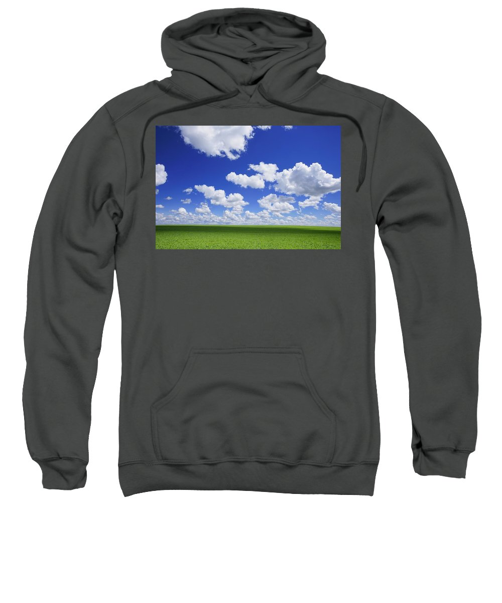 Canada Sweatshirt featuring the photograph White Clouds In The Sky And Green Meadow by Don Hammond