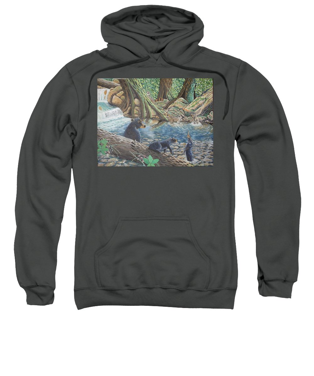 Bear And Cub's Sweatshirt featuring the painting Whos Got Who by Carey MacDonald