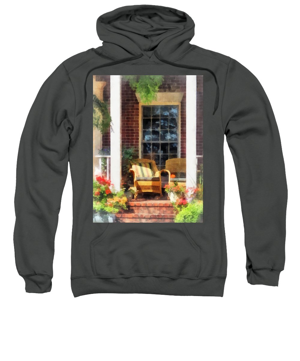 Chair Sweatshirt featuring the photograph Wicker Chair With Striped Pillow by Susan Savad