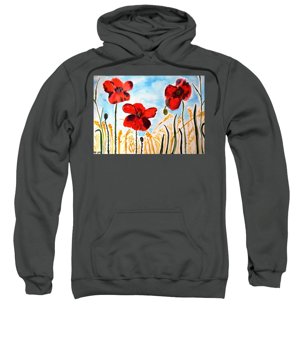 Poppy Sweatshirt featuring the painting Wild Poppies by Valerie Ornstein