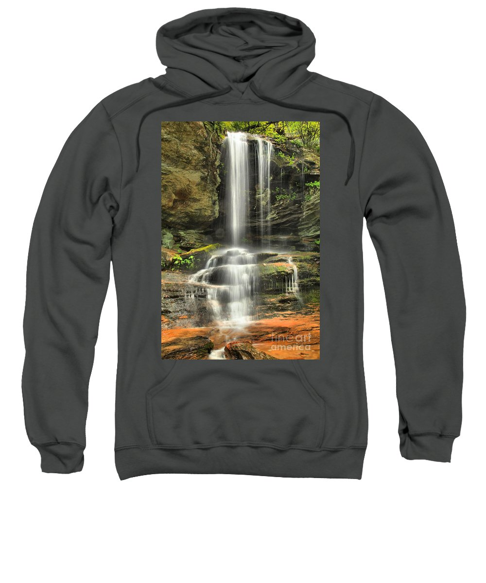 Hanging Rock State Park Sweatshirt featuring the photograph Window Falls Cascade by Adam Jewell