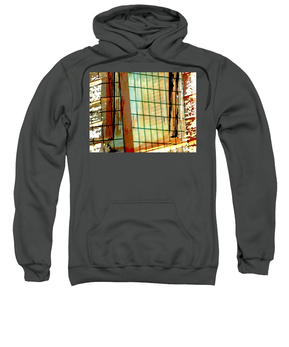 Abstract Sweatshirt featuring the photograph Windows Old And New by Lenore Senior