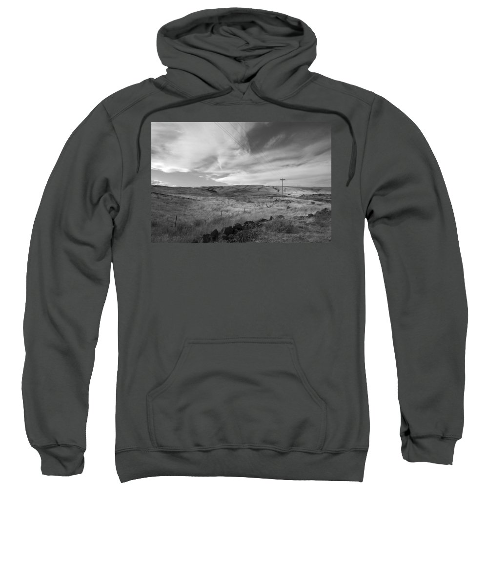 Landscape Sweatshirt featuring the photograph Windswept Hills Bw by Kathleen Grace
