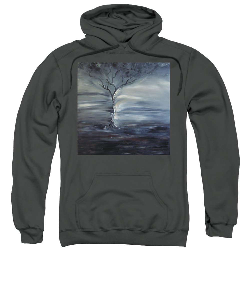 Tree Sweatshirt featuring the painting Winter Storm by Lesley Anne Cornish