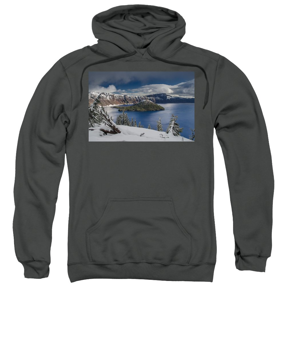Cascades Sweatshirt featuring the photograph Wizard Island After Summer Snowfall by Greg Nyquist