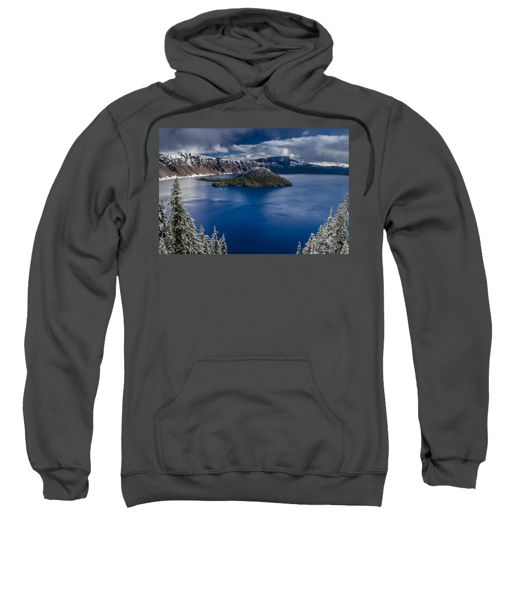 Cascades Sweatshirt featuring the photograph Wizard Island by Greg Nyquist