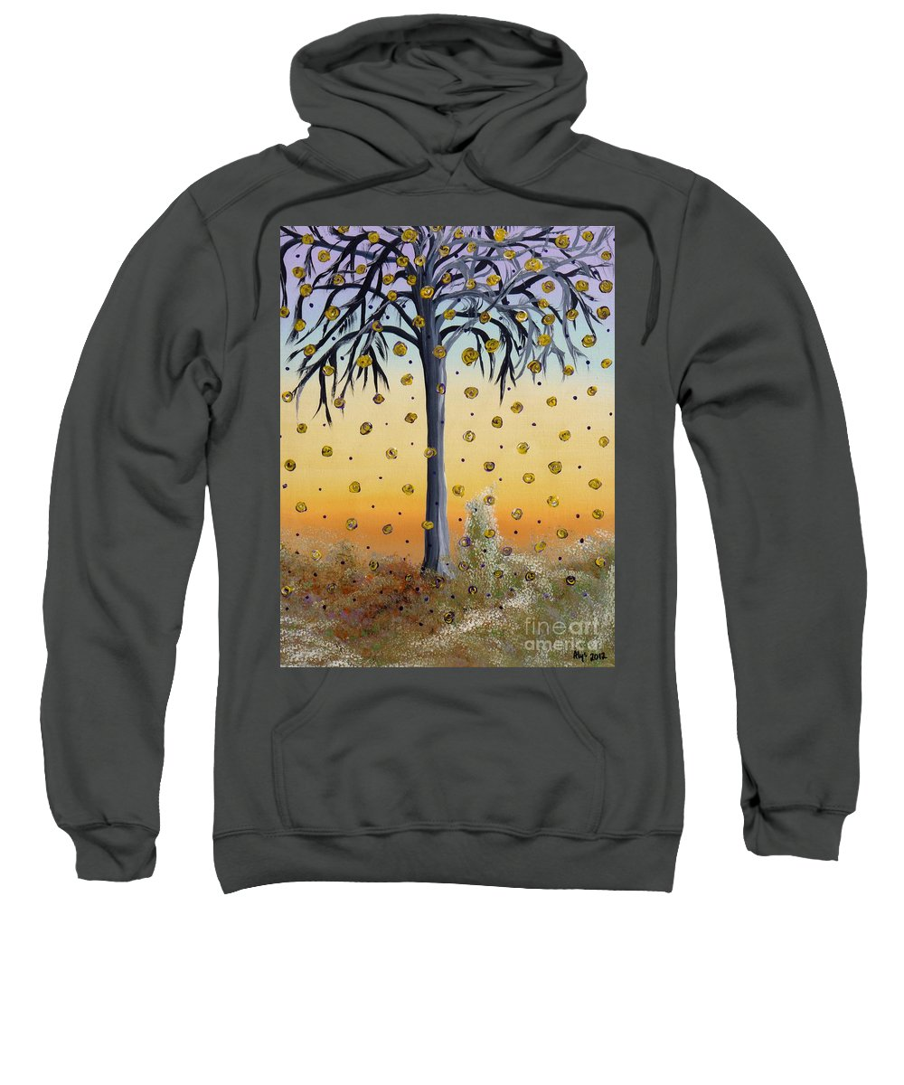 Yellow Roses Sweatshirt featuring the painting Yellow-blossomed Wishing Tree by Alys Caviness-Gober
