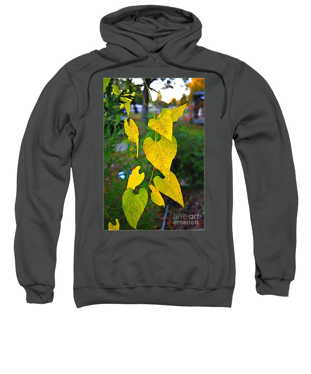Leaves Sweatshirt featuring the photograph Yellow Heart Leaves Photoart I by Debbie Portwood