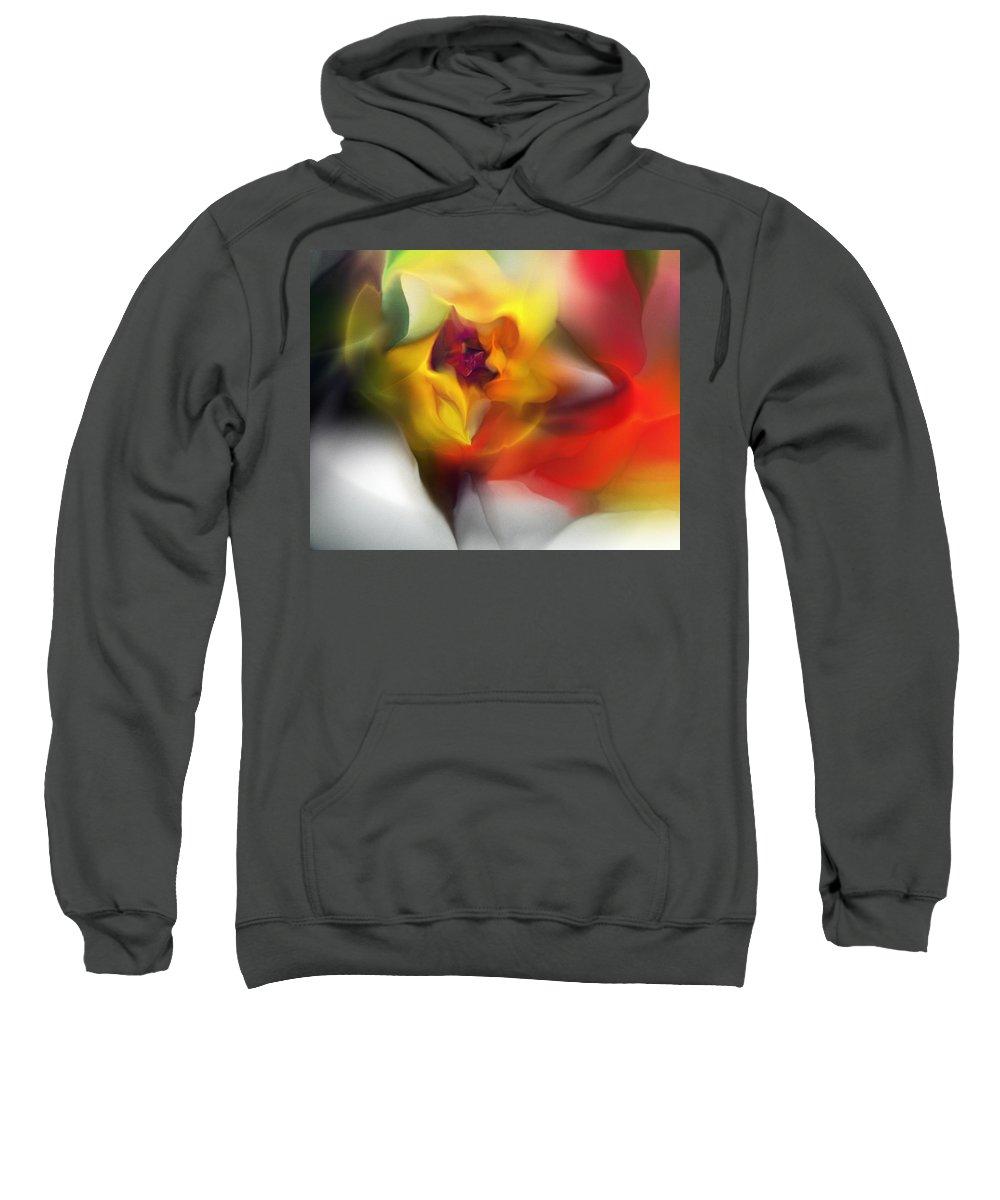 Fine Art Sweatshirt featuring the digital art Yellow Rose Fantasy by David Lane