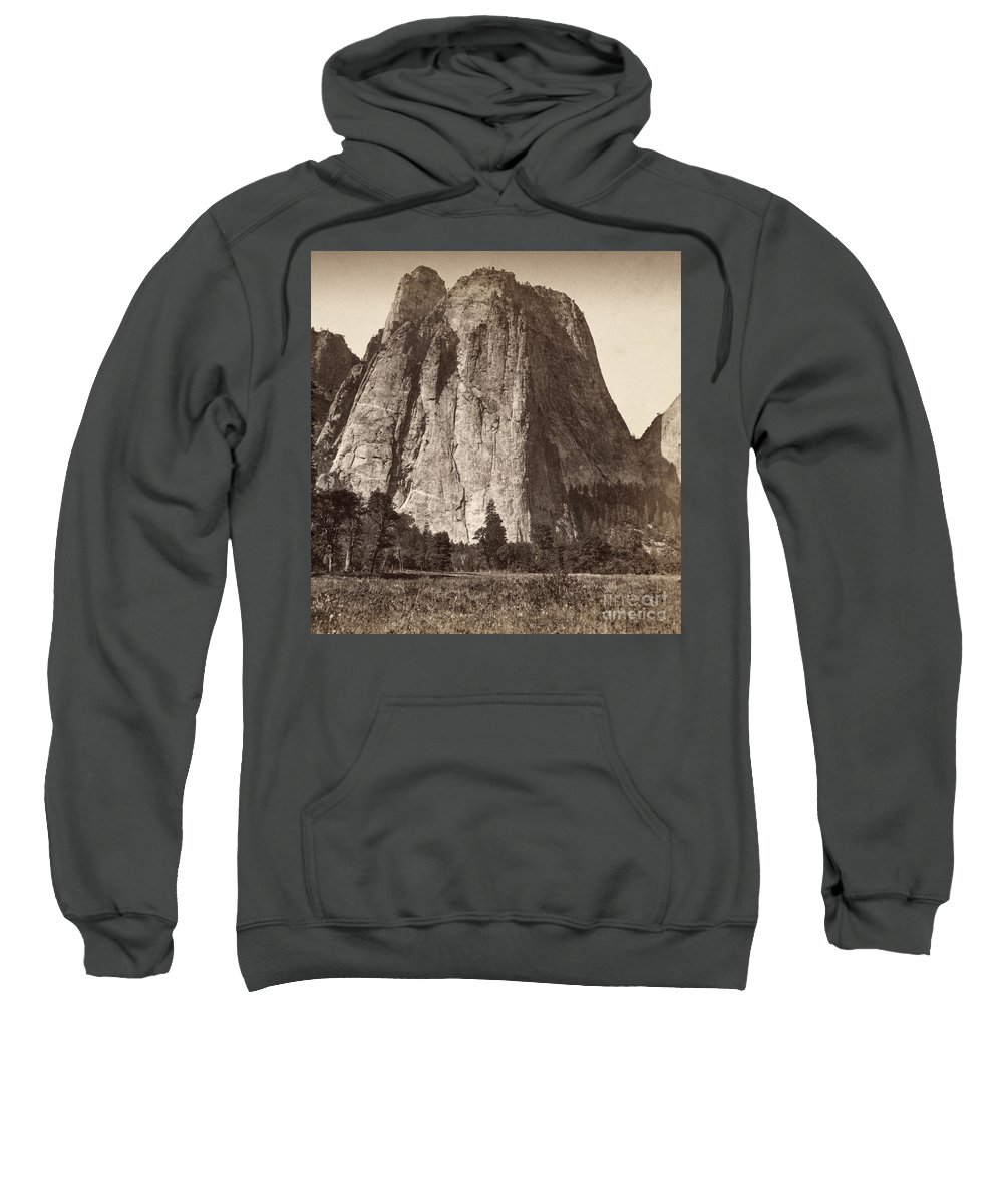 1871 Sweatshirt featuring the photograph Yosemite: Cathedral Rock by Granger