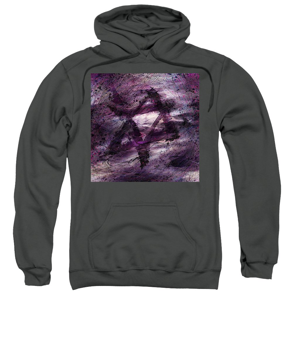 Abstract Sweatshirt featuring the digital art . . . When We Remembered Zion by Rachel Christine Nowicki