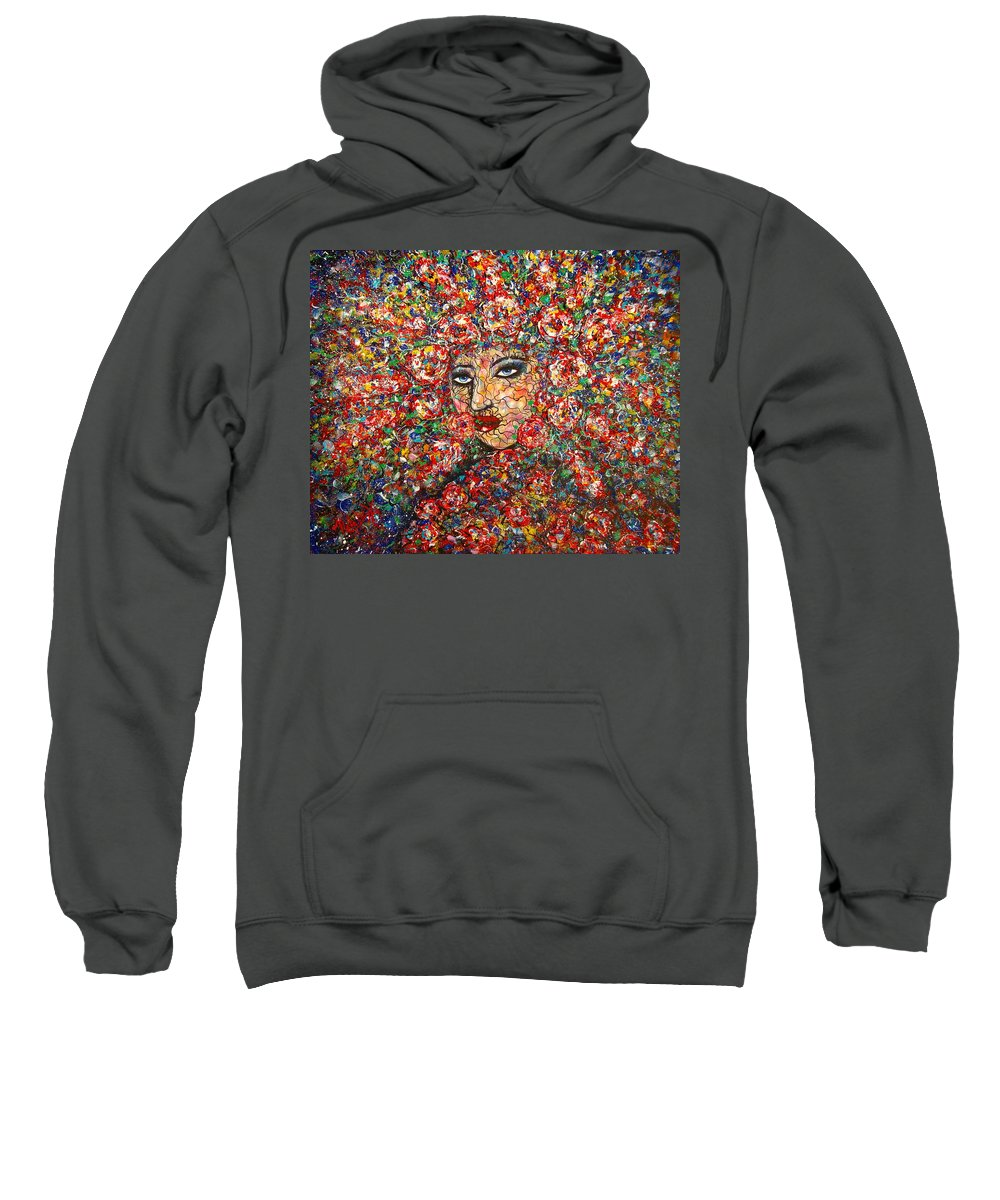 Woman Sweatshirt featuring the painting  Gentle Beautiful Flower by Natalie Holland