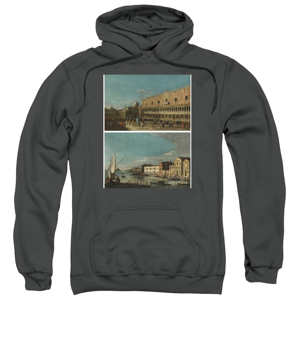 The Master Of The Langmatt Foundation Views Active Venice Circa 1740-1770 Venice Sweatshirt featuring the painting Active Venice Circa by MotionAge Designs