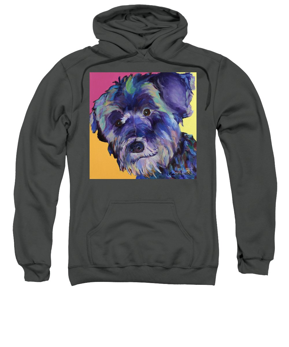 Schnauzer Acrylic Painting Sweatshirt featuring the painting Beau by Pat Saunders-White