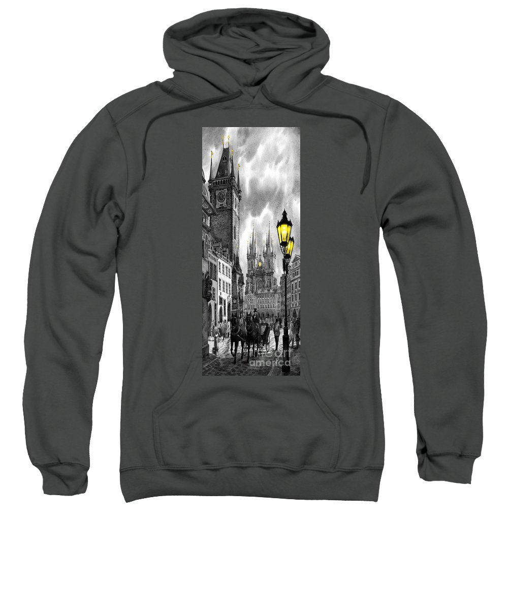 Geelee.watercolour Paper Sweatshirt featuring the painting Bw Prague Old Town Squere by Yuriy Shevchuk