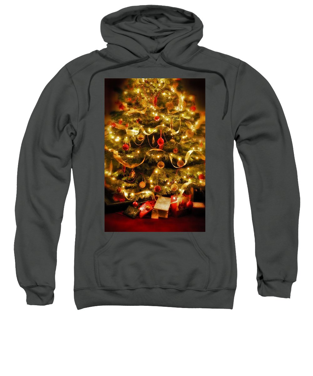 Victorian Christmas Tree Xmas Baubles Gifts Presents Decorations Ribbon Pine Needles Fairy Lights Sweatshirt featuring the photograph Christmas Tree by Mal Bray