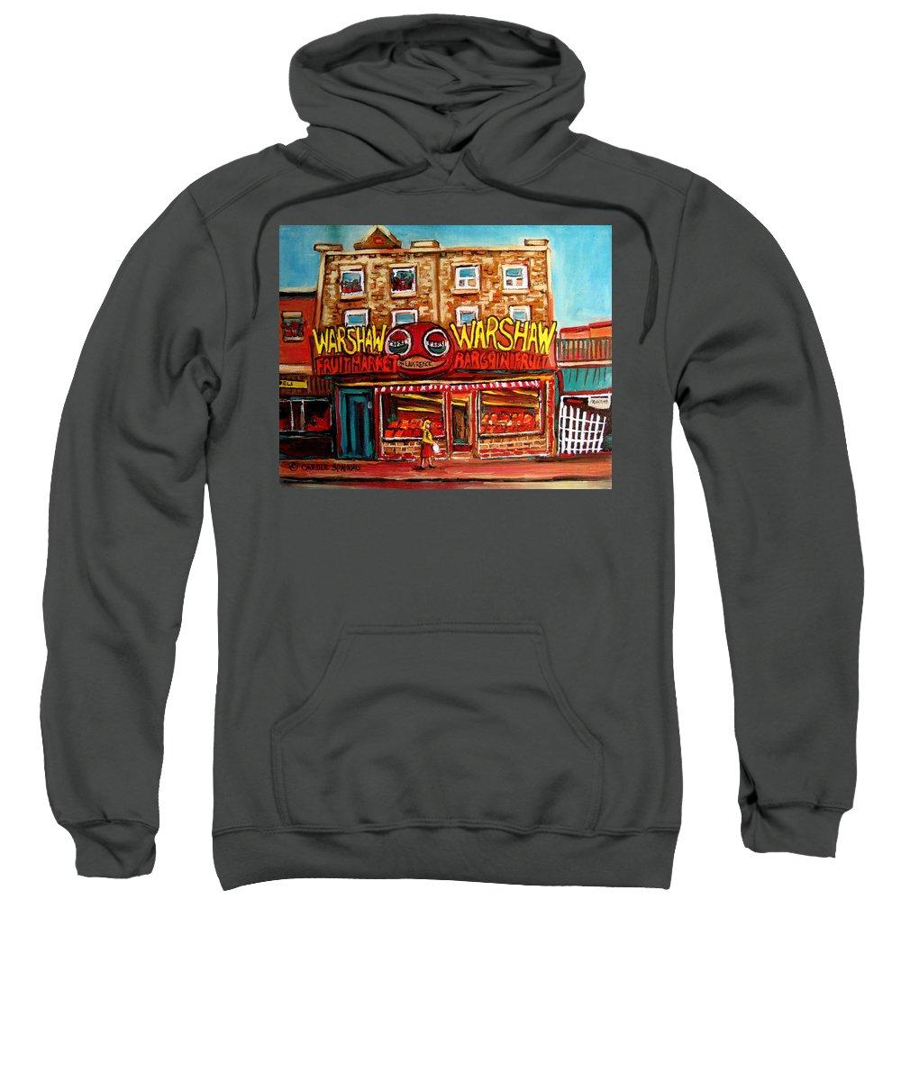 Warshaws Fruitmarket Sweatshirt featuring the painting Fifties Fruitstore by Carole Spandau