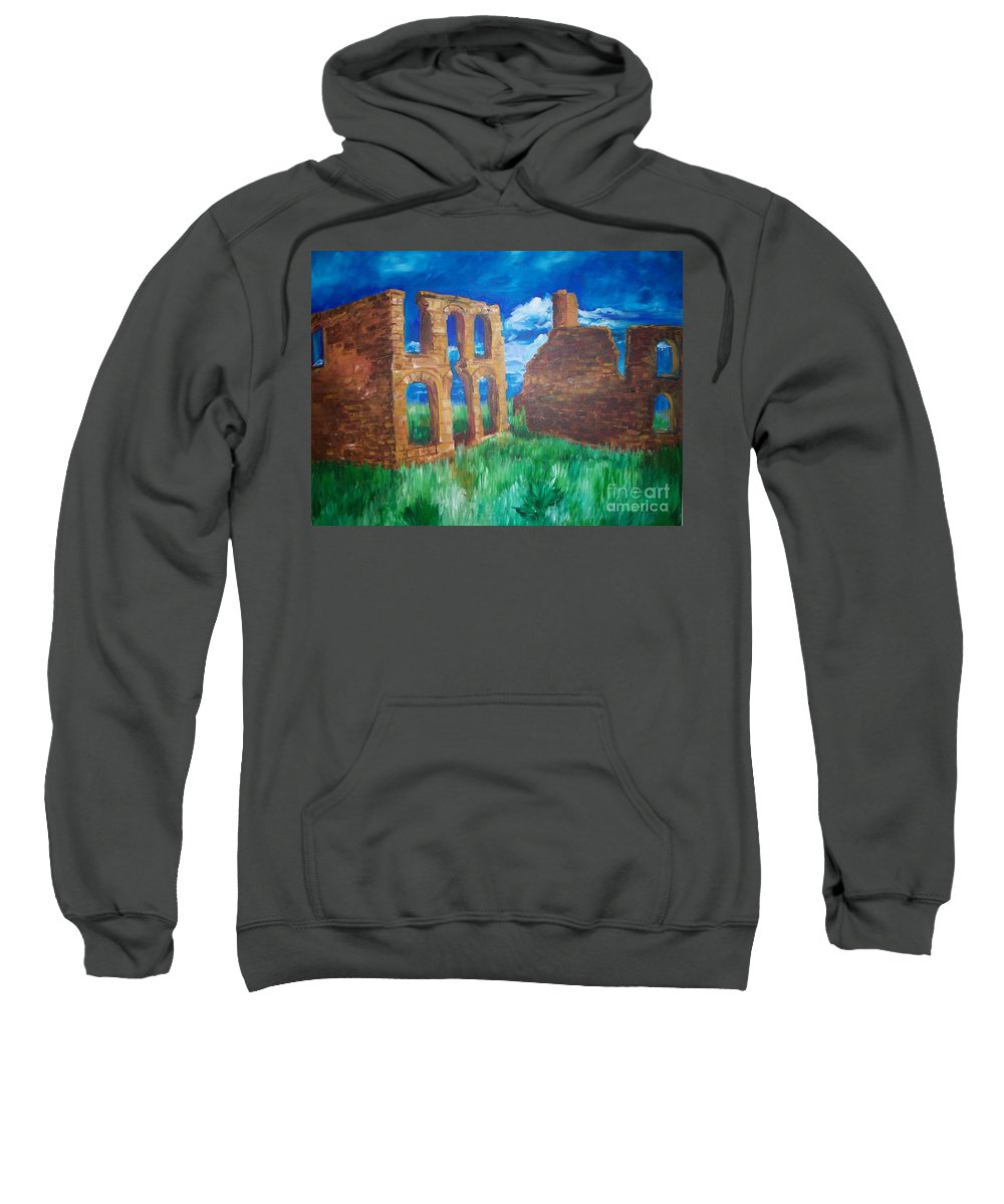 Western_landscapes Sweatshirt featuring the painting Ghost Town by Eric Schiabor
