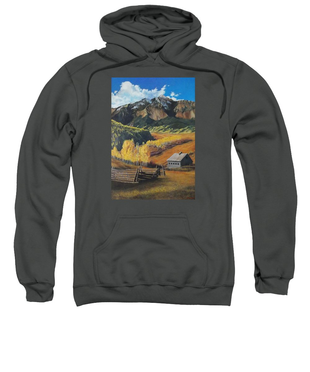 Colorado Rockies Sweatshirt featuring the painting I Will Lift Up My Eyes To The Hills Autumn Nostalgia Wilson Peak Colorado by Anastasia Savage Ealy
