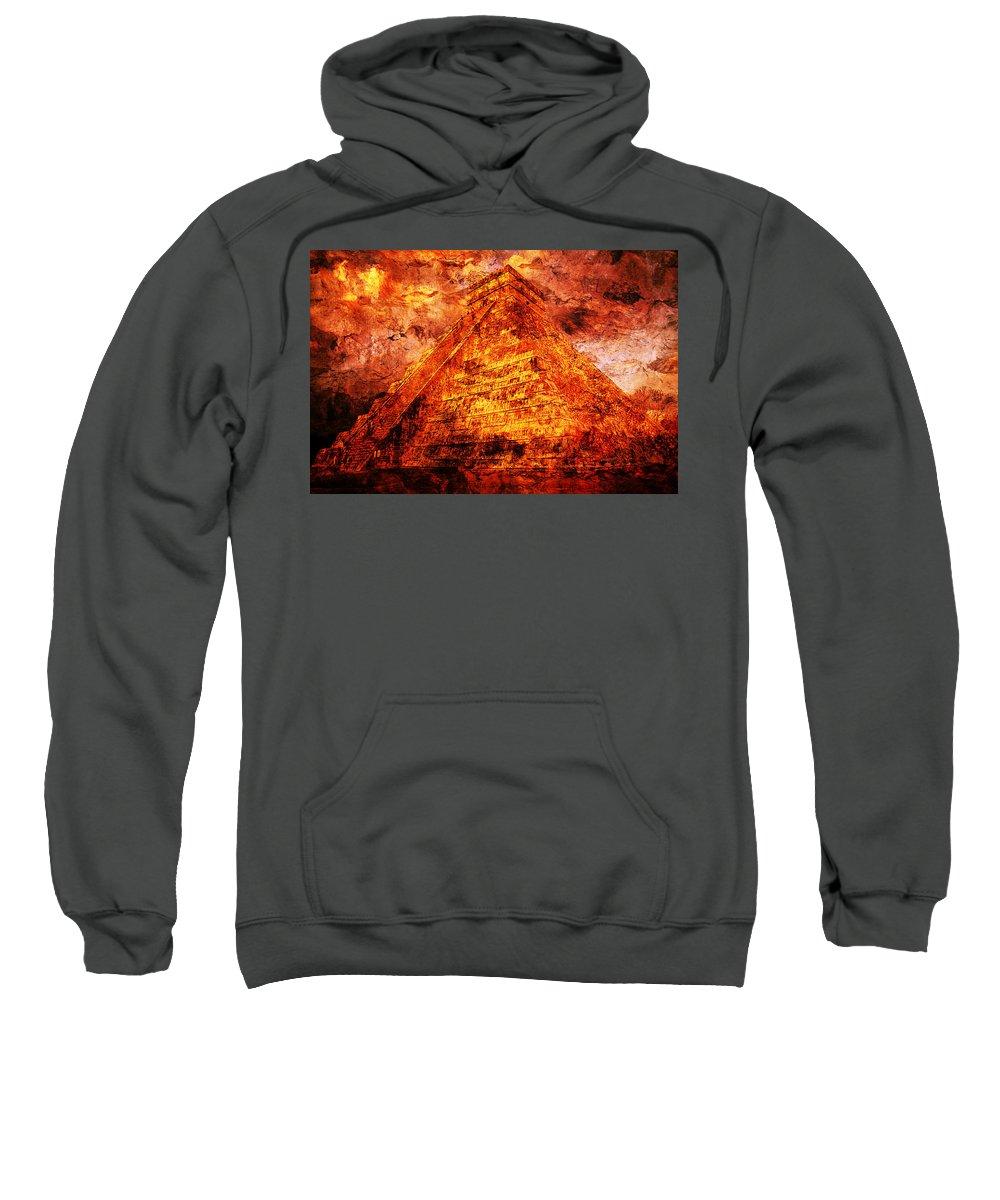 Mayan Digital Art Sweatshirt featuring the digital art C H I C H E N . I T Z A . Pyramid by J - O  N  E