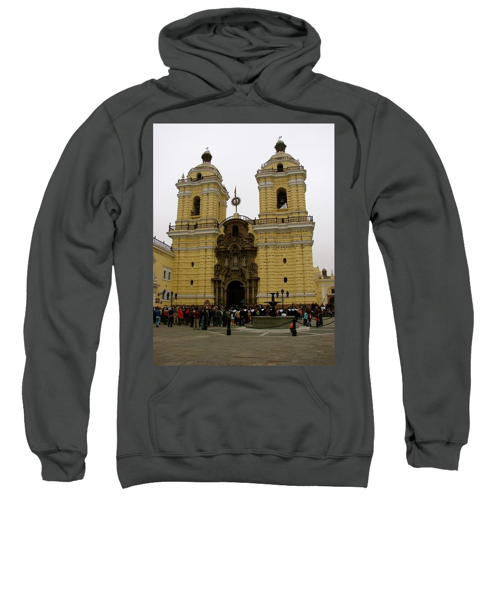 Lima Sweatshirt featuring the photograph Lima Peru Church by Brett Winn