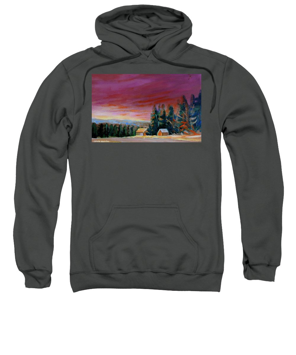 Lovely Sweeping Skies Sweatshirt featuring the painting Lovely Sweeping Skies by Carole Spandau