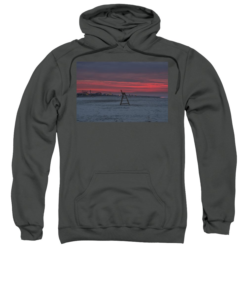 Red Sweatshirt featuring the photograph Red Sky In The Morning - Wildwood New Jersey by Bill Cannon