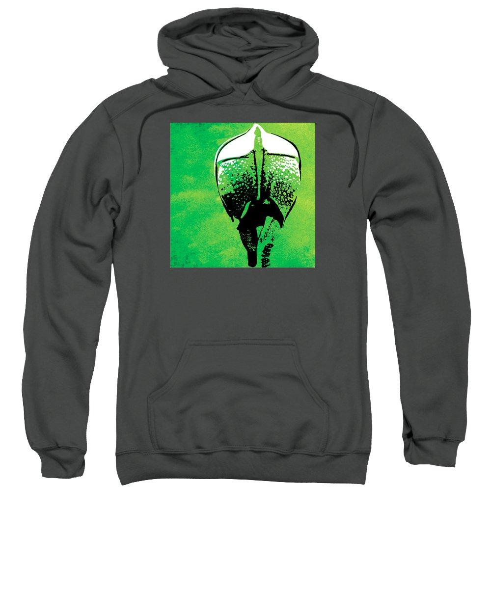 Rhino Sweatshirt featuring the painting Rhino Animal Decorative Green Poster 6 - By Diana Van by Diana Van