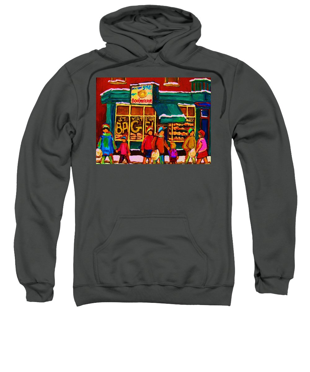 St. Viateur Bagel Sweatshirt featuring the painting St. Viateur Bagel Family Bakery by Carole Spandau